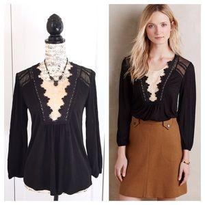 Anthropologie Nimah Blouse Black Cream Lace